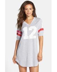 Jane & Bleecker New York - Gray Jersey Varsity Sleep Shirt - Lyst