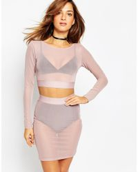 ASOS - Pink Mesh Long Sleeve Crop Co-ord - Lyst