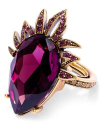 Oscar de la Renta | Purple Ultraviolet Swarovski Crystal Teardrop Ring | Lyst