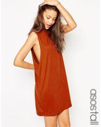 ASOS - Orange T-shirt Dress With Drop Arm Hole - Lyst