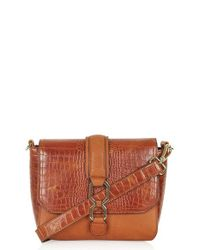 TOPSHOP | Brown Embossed Faux Leather Shoulder Bag | Lyst