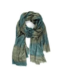 Michael Stars | Green Viscose Striped Scarf With Raw Edge Fringe | Lyst