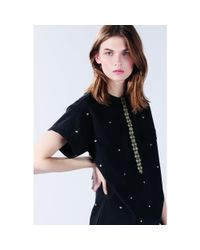 Vanessa Bruno Athé - Black Embroidered Cotton Dress - Lyst