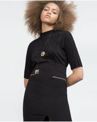 Zara | Multicolor Metal Plaque Necklace Pack Of 2 | Lyst