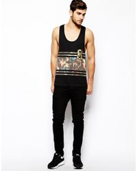 ASOS - Black Tank With Renaissance Varsity Print And Extreme Racer Back for Men - Lyst