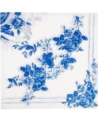 McQ | White and Blue Floral Scarf | Lyst