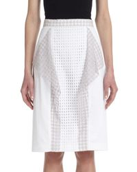 3.1 Phillip Lim | White Draped-panel Stretch Cotton Eyelet Skirt | Lyst