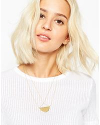 ASOS | Metallic Gold Plated Sterling Silver Half Circle Pendant | Lyst