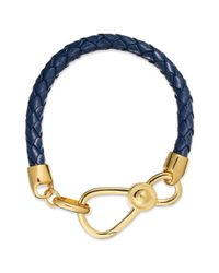 Lauren by Ralph Lauren - Blue Goldtone Navy Braided Leather Hook Bracelet - Lyst