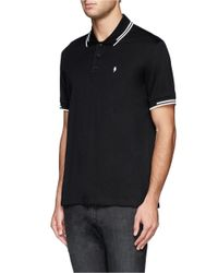 Neil Barrett - Black Lightning Bolt Logo Polo Shirt for Men - Lyst
