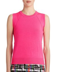 MILLY | Pink Seamed Knit Shell | Lyst
