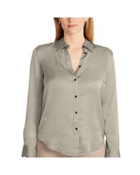Ralph Lauren | Gray Charmeuse Button-down Shirt | Lyst
