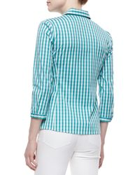 Lafayette 148 New York - Blue Leigh 3/4-sleeve Gingham Blouse - Lyst