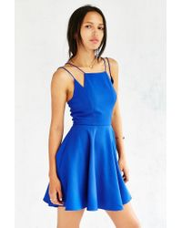 Silence + Noise - Blue Square-neck Strappy Skater Dress - Lyst