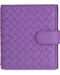 Bottega Veneta | Purple Intrecciato French Wallet for Men | Lyst