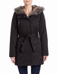 Kensie | Black Faux Fur-trimmed Belted Parka | Lyst