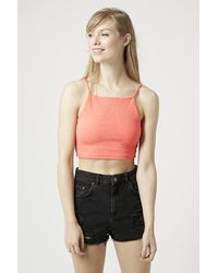 1e6b356464be02 TOPSHOP Ribbed Crop Top in Pink - Lyst