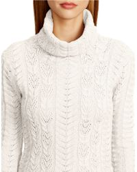 Lauren by Ralph Lauren | Natural Metallic Wool-cashmere Sweater | Lyst