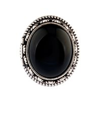 Saint Laurent | Black Boîte Silver And Quartz Hinged Ring | Lyst