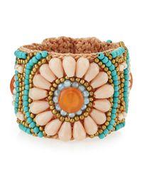 Panacea - Blue Flower-Beaded Rope Cuff Bracelet - Lyst