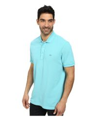 Lacoste - Blue Cotton Pique Vintage Wash Polo With Chevron Rib for Men - Lyst