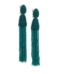 Oscar de la Renta | Green Long Beaded Tassel Clip-on Earrings | Lyst