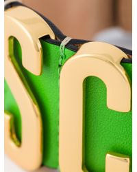 Moschino - Green Logo Plaque Cuff - Lyst