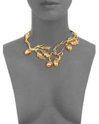 Alexander McQueen - Metallic Leaves Acorn Choker Necklace for Men - Lyst