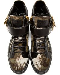 Giuseppe Zanotti | Black Calf_hair Eagle High_top Sneakers for Men | Lyst