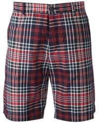 Iceberg - Red Plaid Shorts for Men - Lyst