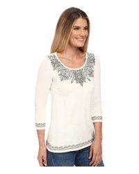 Lucky Brand   Gray Placed Embroidery Tee   Lyst