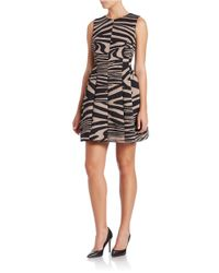 385d61dd29d5 Calvin Klein Pleated Zebra Print Dress in Black - Lyst
