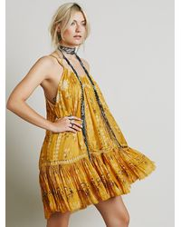 Free People | Yellow Fp One Womens Fp One Ruffle Bottom Mini Dress | Lyst