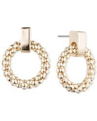 Anne Klein | Metallic Round Textured Wreath Drop Hoop Earrings | Lyst