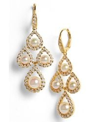 Majorica | White 8mm Pearl Chandelier Earrings | Lyst