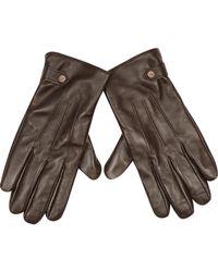 River Island - Dark Brown Leather Gloves for Men - Lyst