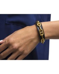 Hermès | Black Pre-Owned Leather Chaine D' Ancre Cuff | Lyst