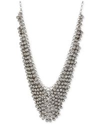 Steve Madden - Metallic Silver-Tone Shaky Faceted Bead Frontal Bib Necklace - Lyst