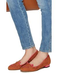 Charlotte Olympia - Brown Tan Calf Suede Kitty Flats - Lyst