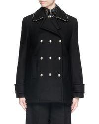 Alexander Wang | Black Ball Chain Collar Trim Wool Blend Coat | Lyst