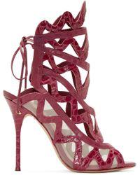 Sophia Webster | Purple Fuchsia Croc_embossed Mila Sandal | Lyst