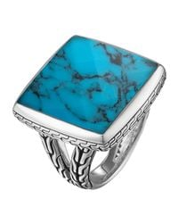 John Hardy Blue Classic Chain Square Turquoise Ring Size 7