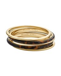 Michael Kors - Brown Goldtone Tortoise Bangle Bracelet Set - Lyst