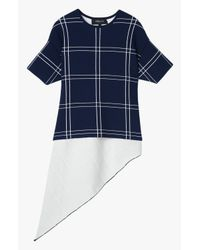 Derek Lam - Blue Asymmetrical Windowpane Top - Lyst