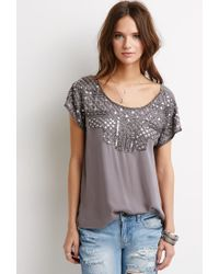 Forever 21 - Gray Bead-embellished Top - Lyst