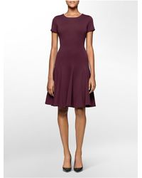 Calvin Klein - Purple White Label Ponte Knit Cap Sleeve Fit + Flare Dress - Lyst
