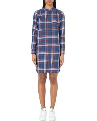 Closed | Blue Checked Cotton-blend Dress | Lyst