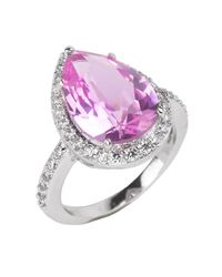 Kenneth Jay Lane | Pave Pear Shaped Ring In Pink | Lyst