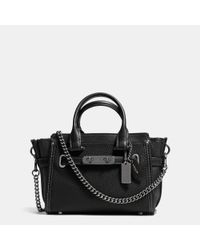 COACH | Black Swagger 20 Pebbled-Leather Shoulder Bag | Lyst