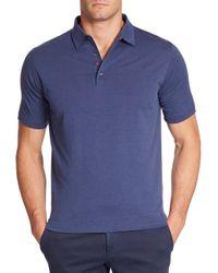 Isaia - Blue Cotton-silk Polo for Men - Lyst